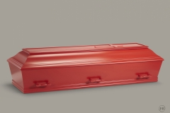 Kiste, rød m. let buet låg nr. 15
